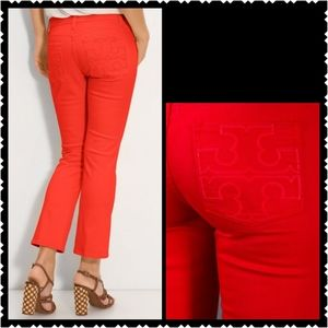 Tory Burch Cropped Jean 28 red mid rise womans